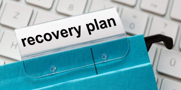 recovery plan is on a label of a blue hanging file. In the backg