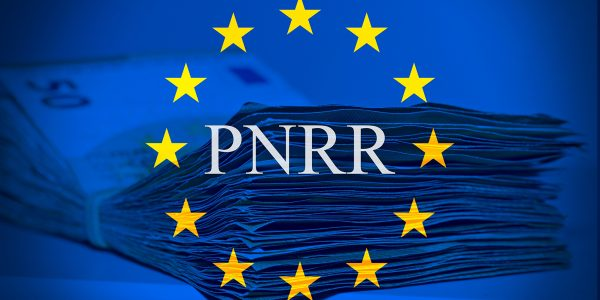 """European flag with the sign """"Pnrr"""", concept of european financial help"""